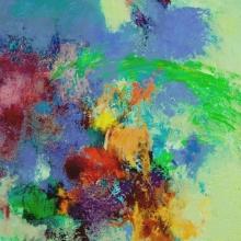"Monocerotis - 2006 · oil, oilstick, oil pastel on birch · 14"" x 12"""