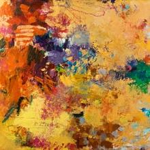 """Terrestrial 3 - 2006 · oil, oilstick, oil pastel on birch · 24"""" x 24"""""""