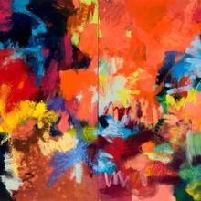 "Lightdance 2 Vivacious - 2005 · oil, oilstick, oil pastel on birch · 24"" x 12"""