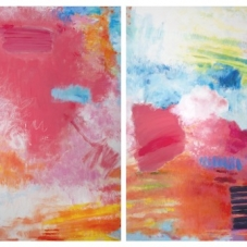 """Rouge Diptych, 48"""" H x 72"""" W Oil, Pigment Sticks, Oil pastel on Canvas"""