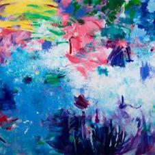 """Exuberance, 48""""H x 60""""W, Oil, pigment stick, oil pastel on Canvas"""