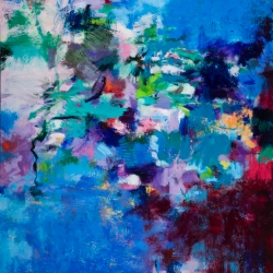 "Ebullience - oil, pigment stick, oil pastel on canvas, 48"" x 36"" - Sold"