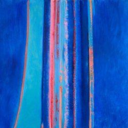 "Cobalt Diptych, 24"" x 36"", Oil + Pigment Sticks on Two Canvases"