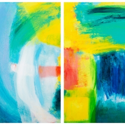 "Emerald Diptych, 12""H x 24""W, Oil + Pigment Sticks on Canvas"