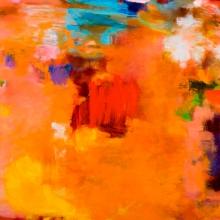 """Caliente - oil, oil pigment stick, oil pastel on canvas, 36"""" x 48"""" - Sold"""