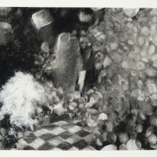 """Obscurely Apparent - Charcoal, white conté & pencil on paper, 19.5"""" x  21.5""""  framed size"""