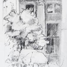 "Column - Pencil on Strathmore Paper, 6.25"" x 4.5"""