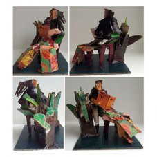 Sculpture (all angles) - Cardboard, paint and tape