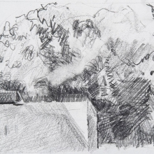 """Above Us - Pencil on Strathmore Paper, 4.75"""" x 3.5"""""""