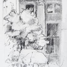 "Column - Pencil on Strathmore Paper, 4.5"" x 6.25"""