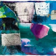 """Papillon 1 - acrylic, crayon, ink, pencil, collage on gessoed Arches paper, 10"""" x 8"""""""