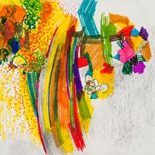 """Cozumel Confetti - watermedia + pencil on Canson paper, 5"""" x 6.5"""""""
