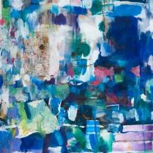 "Azure - Collage, acrylic, crayon, gouache, pencil on Arches paper 30""x22"""