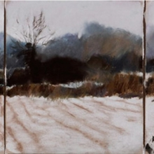 "Winter Landscape - pastel on paper · 58.5"" x 27"""