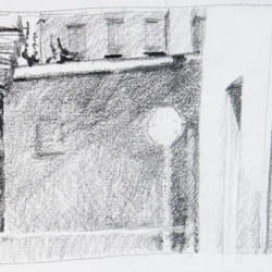 "Stop - Pencil on Strathmore Paper, 2.5"" x 3.25"""