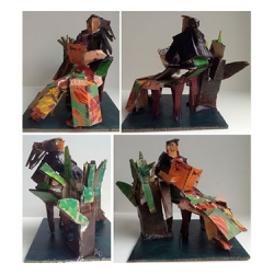 Sculpture (all angles) - Cardboard, paint and tape.