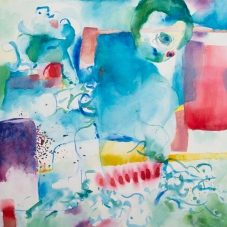 """Untitled (Dream), 16"""" H  x  22"""" W;  frame size:  20"""" H x  25.75"""" W,  Watercolor on Rag Paper"""