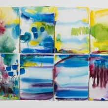 "Four Sets - Ink & Watercolor painted pieces of Arches rag paper which are collaged on Bristol vellum, 30"" x 20"""