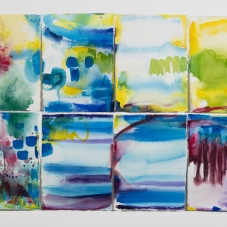 "Four Sets - Ink & Watercolor painted pieces of Arches rag paper which are collaged on Bristol vellum, 20"" x 30"""