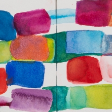 "New Sparkler - 5"" x 14"", Metallic + regular Watercolor on archival paper"