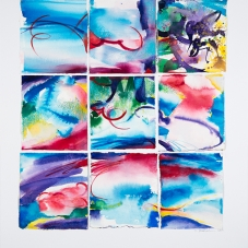 """Nine - Ink & Watercolor painted pieces of Arches rag paper which are collaged on Bristol vellum, 19"""" x 21.625"""""""