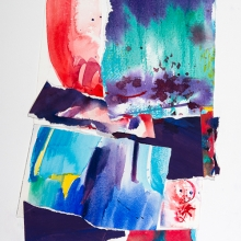 "Verve - Ink, watercolor, & gouache painted pieces of Arches rag paper which are collaged on Bristol vellum, 18""H x 15""W"