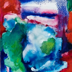 """Azzurum 2 - Ink, watercolor on Arches paper, 5.5""""H x 5"""" W - sold"""