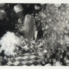 """Obscurely Apparent - Charcoal, white conté & pencil on paper, 21.5"""" x 19.5"""" framed size"""