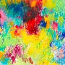 """Untitled (Bright),  5""""H x 7.5""""W, Mixed Media on Paper"""