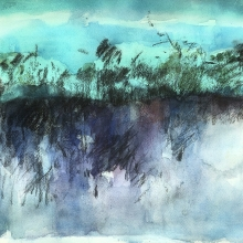 "Deep Undertoe - 10"" x 14"", Watercolor, Gouache, Charcoal on archival paper"