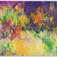 """Reimagined Lightdance, 22""""H x 28""""W, Oil pastel and Gouache on Arches paper"""