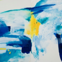 """Aqueous Experiment 1 and 2 - Diptych Oil, pigment stick, oil pastel on Arches oil paper 22"""" x 60"""""""