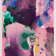 """In the Pink - Collage of handmade & other papers, acrylic, watercolor, ink, 6"""" x 4"""""""