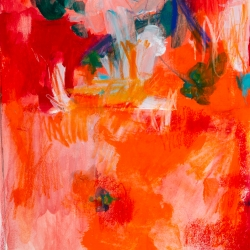 """Deep into Orange,  11"""" H x  9"""" W;  frame size: 16"""" x 13"""", mixed-media on archival paper"""
