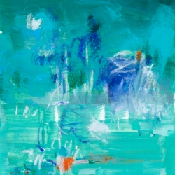 """Turquoise, 11"""" H  x  9"""" W;  frame size: 16"""" H  x 13"""" W, mixed-media on archival paper"""