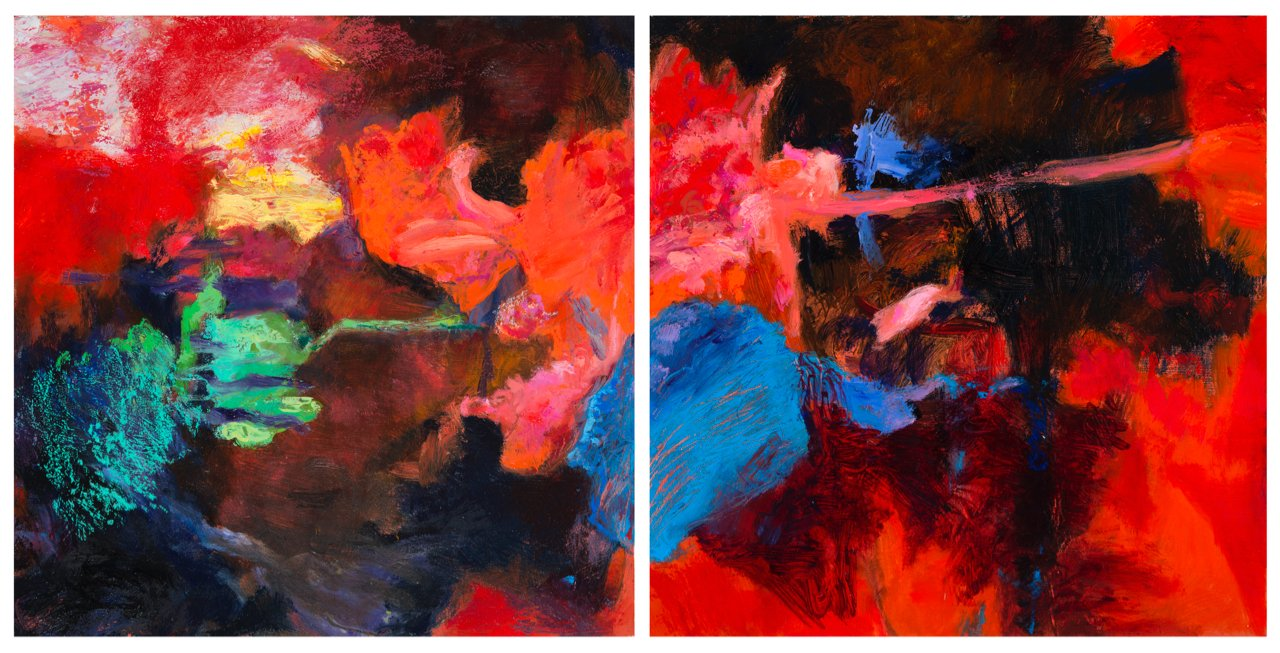 """Shadowed 2 + 3 - Oil, pigment stick, oil pastel on """"Gessoboard"""", 10"""" x 20"""""""